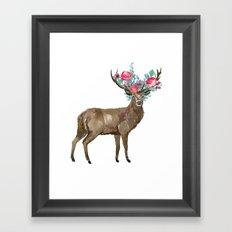 Boho Chic Deer With Flower Crown Framed Art Print