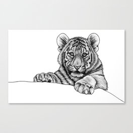 Amur tiger cub - ink illustration Canvas Print