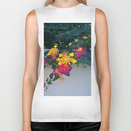 Multicolored flowers Biker Tank