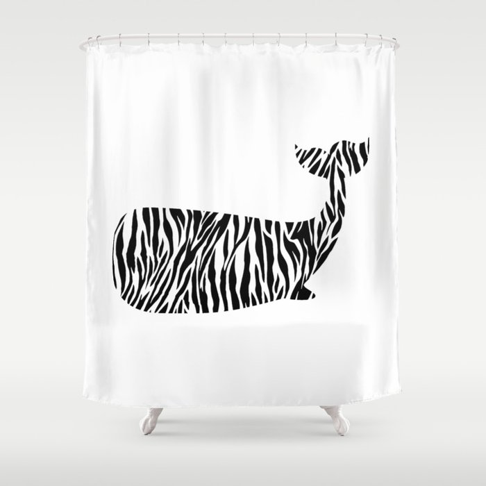 Whale With Zebra Print Shower Curtain