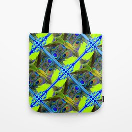 ART NOUVEAU FLYING GREEN PARROTPEACOCK FEATHER CHARTREUSE ART Tote Bag