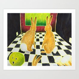 Bongo Bunnies in the Basement with a Bowling Ball Art Print