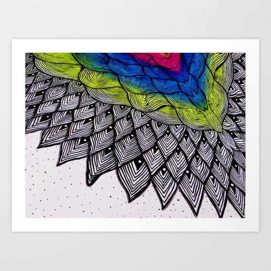 Magical feathers Art Print