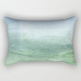 Green Blue blurred watercolor design Rectangular Pillow