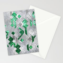 Abstract Geometric Malachite and Mother of pearl Stationery Cards