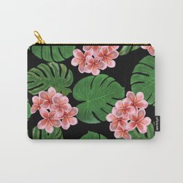 Tropical Floral Print Black Carry-All Pouch