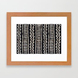 African Vintage Mali Mud Cloth Print Framed Art Print