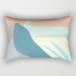 Desert Land // Mountains Sun Clouds Agave Plant Sand Simple Digital Acrylic Landscape Painting Rectangular Pillow