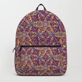 Kaleidoscope Purple-Yellow Pattern Backpack