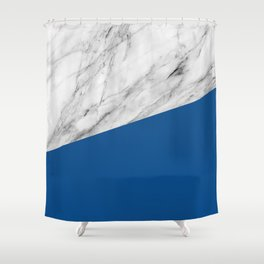 Marble and Lapis Blue Color Shower Curtain