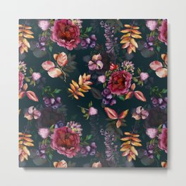 Autumn dark roses and florals Metal Print
