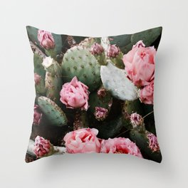 PINK CACTUS FLOWER ABSTRACT CLUSTER PATTERN Throw Pillow