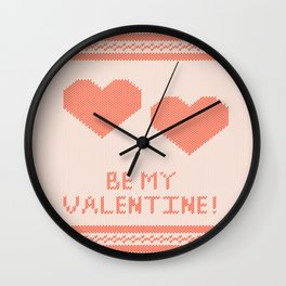 Knitted background with hearts Wall Clock