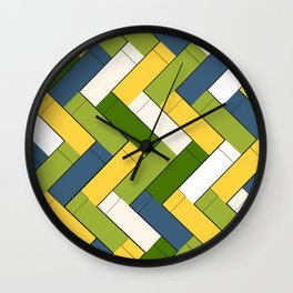 Avocado yellow and blue rectangles Wall Clock