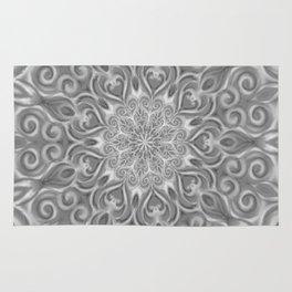 Gray Center Swirl Mandala Rug