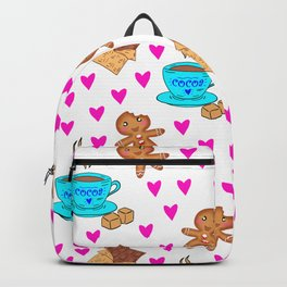 Cute sweet gingerbread men cookies, chocolate bars, cups of hot cocoa, pink hearts winter pattern Backpack