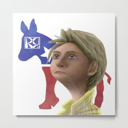 Hillary Clinton Caricature Metal Print