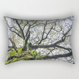 Centenary oak with the trunk covered in moss and green plants Rectangular Pillow