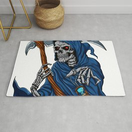 Reaper grim with Hourglass - ghost skull - black and white Rug