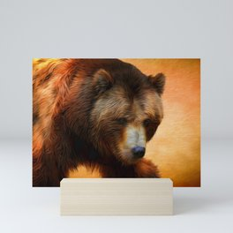 Grizzly Bear Painted Mini Art Print