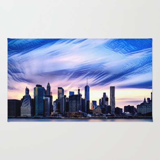 Romantic City Cityscape with Light Sunset and River Rug