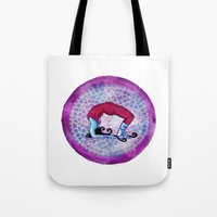 yoga Tote Bags featuring yoga by Abraxas (luciana cabane)