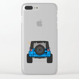 Jeep Wave Back View - Blue Jeep Clear iPhone Case