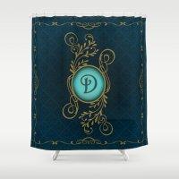 monogram Shower Curtains featuring Monogram D by Britta Glodde