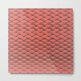 Japanese pink Art Deco waves Metal Print