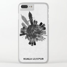 Kuala Lumpur, Malaysia Black and White Skyround / Skyline Watercolor Painting Clear iPhone Case