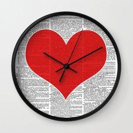 """Heart"" Dictionary Page – Original Digital Art Print Wall Clock"