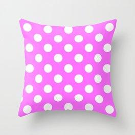 Shocking pink (Crayola) - pink - White Polka Dots - Pois Pattern Throw Pillow