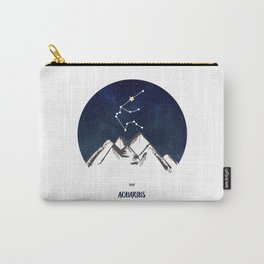 Astrology Aquarius Zodiac Horoscope Constellation Star Sign Watercolor Poster Wall Art Carry-All Pouch