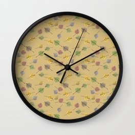 Colorado Aspen Tree Leaves Hand-painted Watercolors in Golden Autumn Shades on Jute Beige Wall Clock