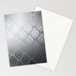 """Neutral gray Damask Pattern"" Stationery Cards"