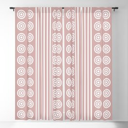 Geometric Stripes and Circles - White on Dusky Pink Blackout Curtain