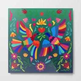 embroidery mexican floral  Metal Print