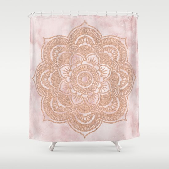 pink and gold shower curtain. Rose gold mandala  pink marble Shower Curtain by Marbleco Society6