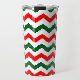 Modern red green white Christmas chevron pattern Travel Mug