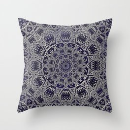 Cream Colored Mandala in Dark Blue Background Throw Pillow