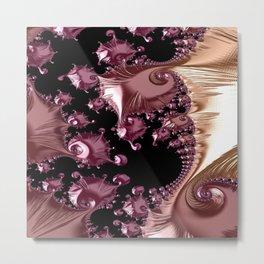 Abstract rosegold fractal Metal Print