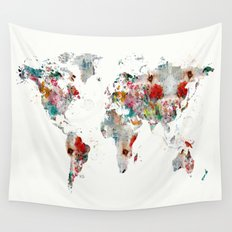 world map abstract  Wall Tapestry