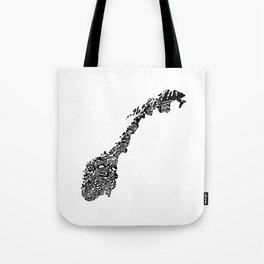 Typographic Norway European map art Tote Bag