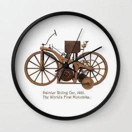 Daimler Riding Car, 1885. The world's first motorbike. Wall Clock