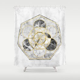 Marble & Gold Geometry / Heptagon Shower Curtain