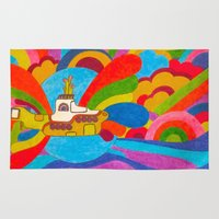 yellow submarine Area & Throw Rugs featuring Yellow Submarine by Jaime Viens