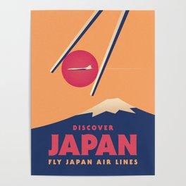 Japan Tourism Mt Fuji Sushi Chopsticks - Orange Poster