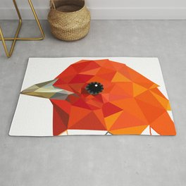 Orange Bird Geometric art Rug