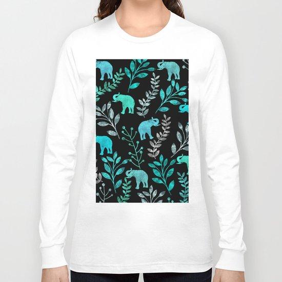 Watercolor Flowers & Elephants IV Long Sleeve T-shirt