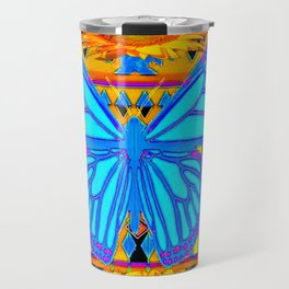 Baby Blues Butterfly Gold Art Travel Mug